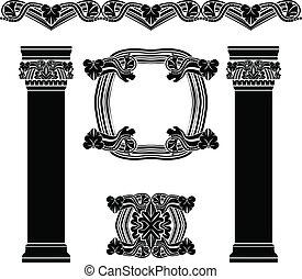 Set of decorative elements, columns, pattern, frame