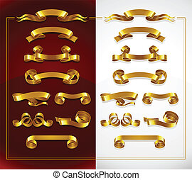 set of decorative gold banners on red and white