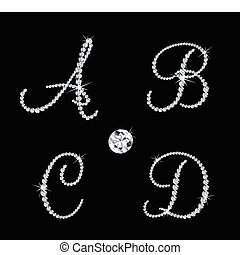 Set of diamond alphabetic letters with bright stars. Vector illustration