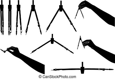 Set of different drawing compasses