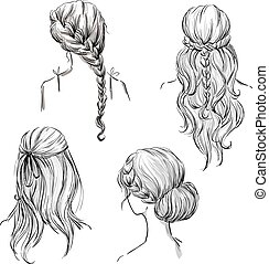 set of different hairstyles.
