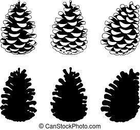 Set of different pine cones
