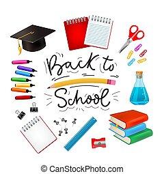 Set of different school supplies for children