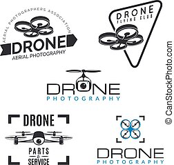 Set of drone logos, badges and design elements. Quadrocopter store, repair & service logotypes.