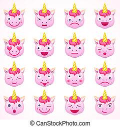 Set of emoji unicorn, vector illustration