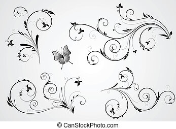 Set of floral black design with swirl elements on gray background