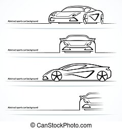 Set of four abstract sports car silhouettes. Vector illustration
