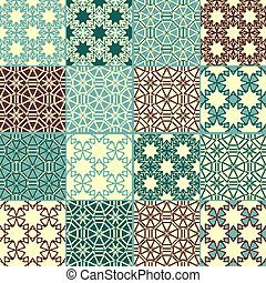 set of four vector seamless patterns, can be used separately as textile, wrapping paper or any other decoration
