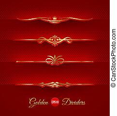 Set of golden decorative dividers