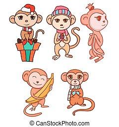 Set of hand-drawn cartoon monkeys