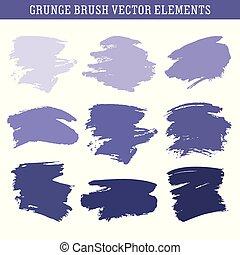 Set of hand drawn grunge brush texture elements