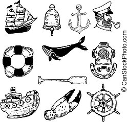Set of hand drawn nautical vector elements. Design elements for