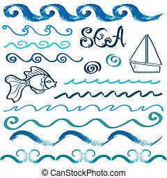 Set of hand drawn sea design elements