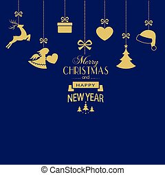 Set of hanging golden Christmas ornaments on dark blue background
