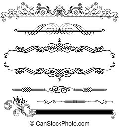 Set of Horizontal Ornamental design elements, vector illustration.