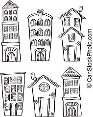 set of house doodle