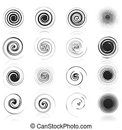 Set of icons of black spirals. A vector illustration