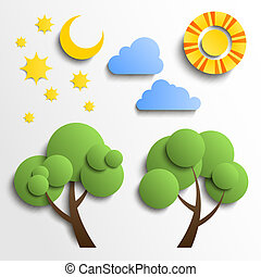 Vector set of icons. Paper cut design. Sun, moon, stars, tree, clouds