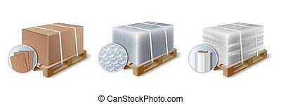 Set of Images of cargo on wooden pallet.