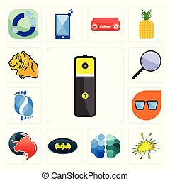 Set of lithium battery, starburst, free brain, bat, taurus professional, nerd glasses, podiatry, focus group, tiger icons