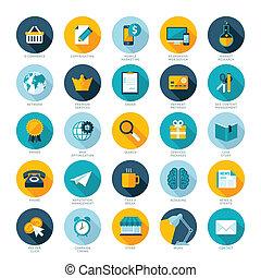 Set of flat design icons for E-commerce, Pay per click marketing, Responsive web design, SEO, Reputation management and Internet marketing