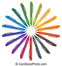 Set of multicolored pens placed in a circle