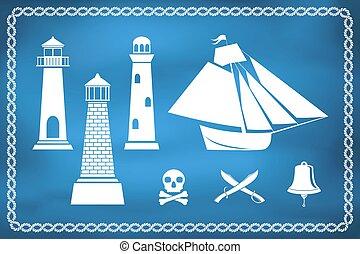 Set of nautical and marine icons