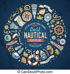 Set of Nautical cartoon doodle objects, symbols and items