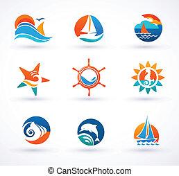 Set of nautical, sea icons and symbols