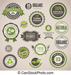 Set of vector badges and labels for organic products