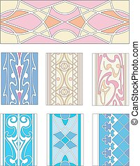 Set of ornamental patterns in mannerism style