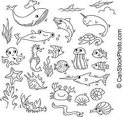 Set of sea animal doodle