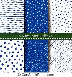 Set of six hand drawn seamless patterns