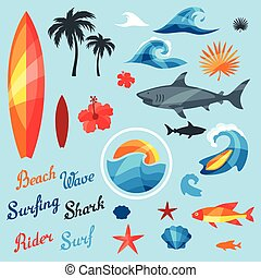 Set of surfing design elements and objects