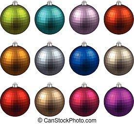 Set of textured realistic christmas balls.