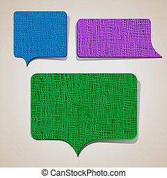 Set of textured talking bubbles