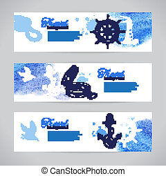 Set of travel banners. Sea nautical design. Hand drawn sketch and watercolor illustrations