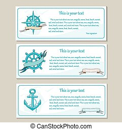 Set of travel banners. Sea nautical design.