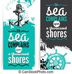 Set of travel grunge banners. Sea nautical design. Hand drawn textured sketch illustrations. Typographic design