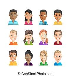 Set of vector avatars. Multiethnic.