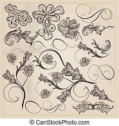 Set of vector calligraphic decorati