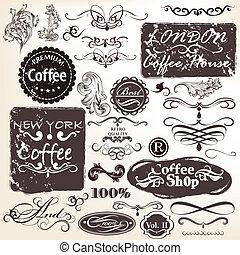 Set of vector calligraphic vintage