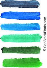 Set of vector watercolor strokes
