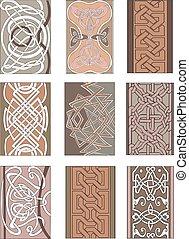 Set of vertical knot ornamental patterns