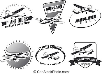 Set of vintage airplane emblems, badges and icons. Airplane tours, flight school and plane design elements. Isolated lite airplane side view.