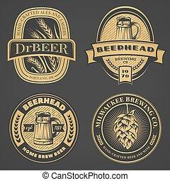 Set of vintage beer emblems, labels and badges.