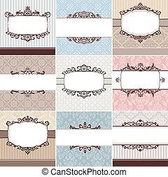 set of vintage floral frame vector illustration