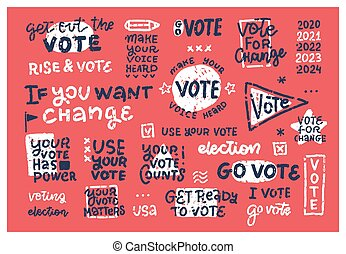 Set of vintage retro 2020 election badges and labels. Stamp imitation text hand drawn stickers for layout.