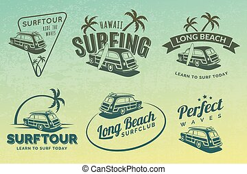 Set of vintage surfing car labels, badges and emblems. Old school car with surfboard. Vector logo.