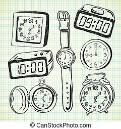 Set of watch and clock doodle
